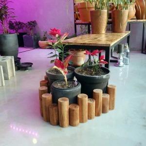 원목 통나무 화분 울타리 (목봉) 95x16cm (소)