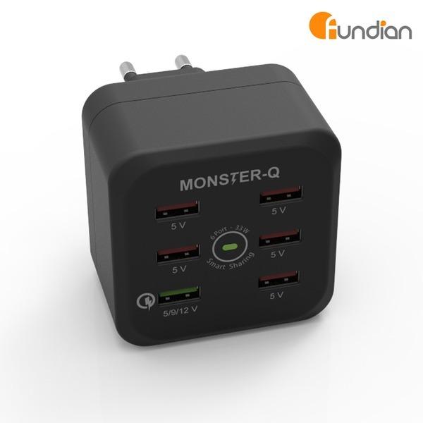 몬스터Q 6포트 여행용 멀티고속충전기 /스탠다드 블랙
