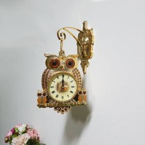 타임 소형 부엉이시계 골드 무소음 양면벽시계 선물