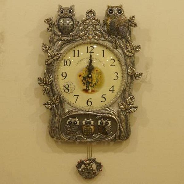 (나린아토)패밀리 부엉이 추벽시계 (앤틱실버)