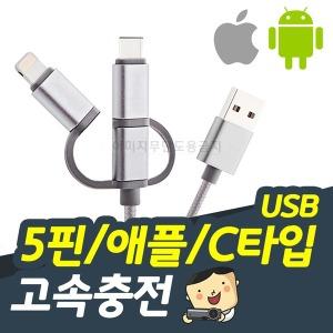 USB C타입 5핀/애플연결 고속충전 케이블 (실버)