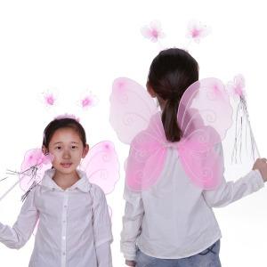 나비 날개 봉 머리띠 세트 핑크 천사 요정 공연