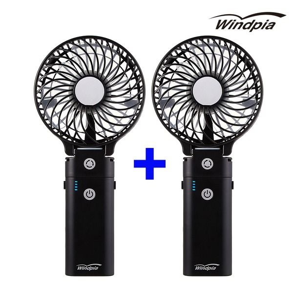 (1+1)보조배터리미러핸디팬/휴대용 핸디 선풍기(블랙)