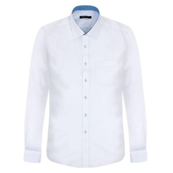 스카이체크 배색 화이트 긴팔셔츠 남자와이셔츠 셔츠