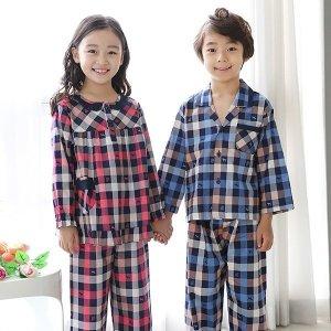 쁘띠쁘랑 1131 멀티체크 아동잠옷 아동상하세트