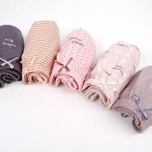 여성 주니어 삼각팬티 세트 도트하트(5매) 여자속옷