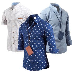 남자 여름셔츠 반팔 7부 롤업 린넨남방 와이셔츠 체크