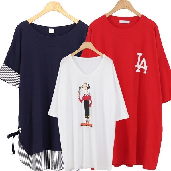 SS신상 빅사이즈 롱 티셔츠 원피스형 여성의류 임부복