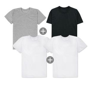 특가 4장1세트 무지티 면 기본  반팔 흰 티 셔츠
