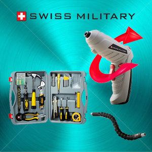 스위스밀리터리  4.8V드릴+100P수공구세트/비트증정