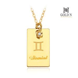 (골드앤(GoldN)) 골드앤 14K 쌍둥이자리 사각 이니셜 다이아몬드 목걸이 YG