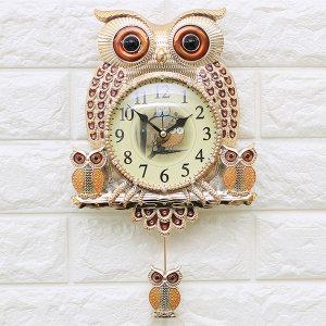 인테리어벽시계 깜찍부엉이-골드/무소음시계 엔틱소품