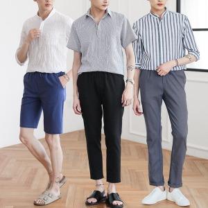 A남성여름셔츠/헨리넥/스트라이프/티셔츠/남자바지