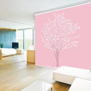 일러스트 롤스크린 화이트블라썸-핑크 일반 95cmX185cm