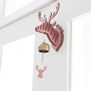미니 레인디어 도어벨 핑크 디자인 현관종 초인종 풍경
