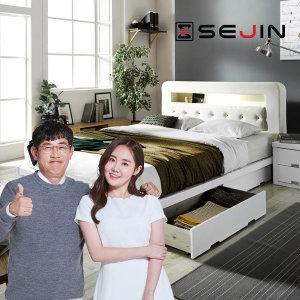 세진 레프리 PU가죽 LED 수납형 침대 +오리온 7존독립 FM볼라텍폼스 55T 매트리스Q