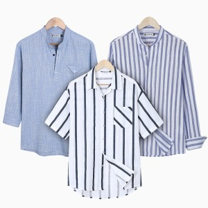 A남성긴팔셔츠/남자7부남방/스트라이프셔츠/헨리넥