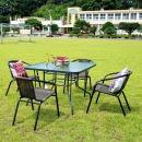 야외테이블세트 카페 정원 라탄의자4+테이블100Cm