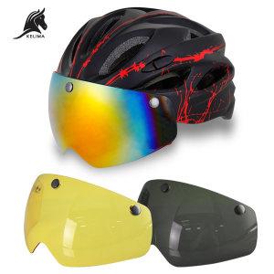 KELIMA 자전거 고글 헬멧 1개+고글3개 _블랙레드