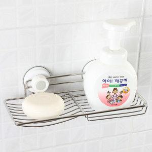글라스터 스텐 2칸 비누대/비누받침/흡착 욕실용품