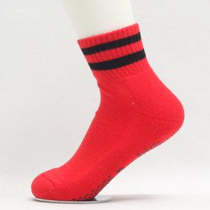에어로빅복 여자 발목양말 스포츠양말 빨강 검정라인
