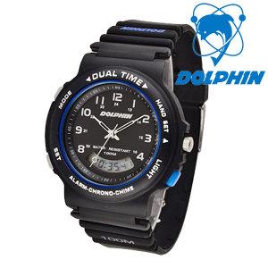 돌핀 100M 방수 아날로그+디지털 손목시계 852-2B