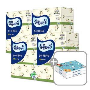 잘풀리는집 순수 미용티슈 180매 12개/ 천연펄프 4팩 - 상품 이미지