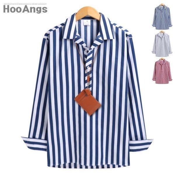 후앙스  후앙스  오버핏 스트라이프배색 파자마 셔츠 SMST0937