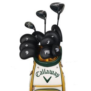 골프채 아이언커버 세트 자수 숫자 클럽헤드보호 블랙