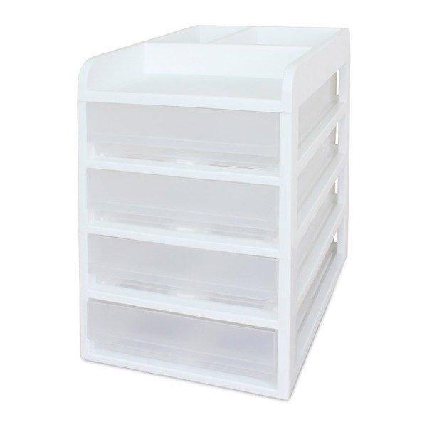 서류정리함(커버형 A4) 4단 / 서류꽂이 사무용품