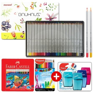 단독특가 브랜드 틴케이스색연필+연필깎이+무료배송