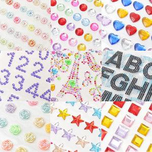 큐빅스티커 숫자 알파벳 꽃 하트 별 원형 사각