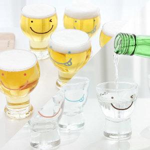 선물패키지 스마일 와글와글 맥주컵 6P+소주잔 6P SET
