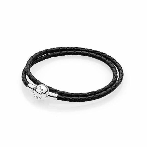 (현대Hmall)판도라 정품 Black leather double(38cm) 590745CBK-D2