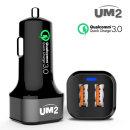 UM2 QC3.0 2포트 차량용 고속충전기 시거잭 QC302