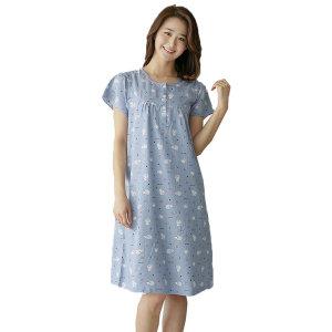 여자 원피스 잠옷 국내산 여름 반팔 홈웨어 러브도치