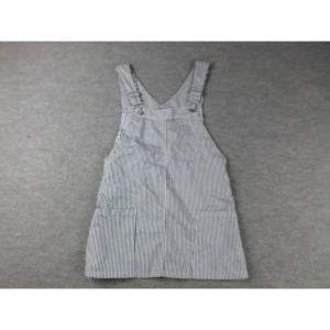 190184/구제의류/흰검줄 패턴 멜빵치마