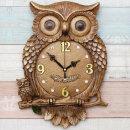 인테리어벽시계 부엉이(중)-브라운/무소음시계 장식품