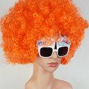 오렌지 점보 파티가발 풍성한 성인용 이벤트 가발