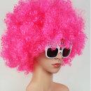 핑크색 점보 뽀글이 가발 풍성한 성인용 파티 가발