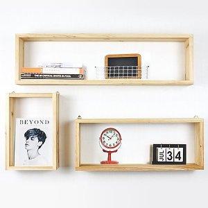 원목 벽걸이선반 큐브/주방.수납선반 공간박스