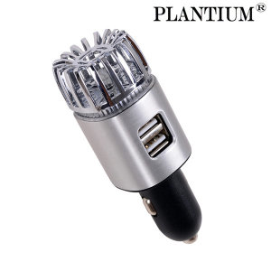 PLANTIUM 실버 차량용 공기청정기 USB 핸드폰 충전기