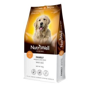 뉴트리웰 패밀리 15kg 애견사료 강아지사료