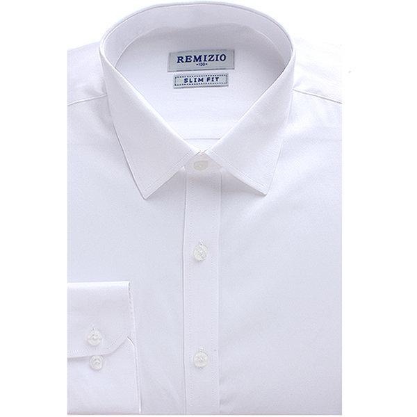 슬림핏 솔리드 긴팔셔츠 남자 와이셔츠 화이트 9127