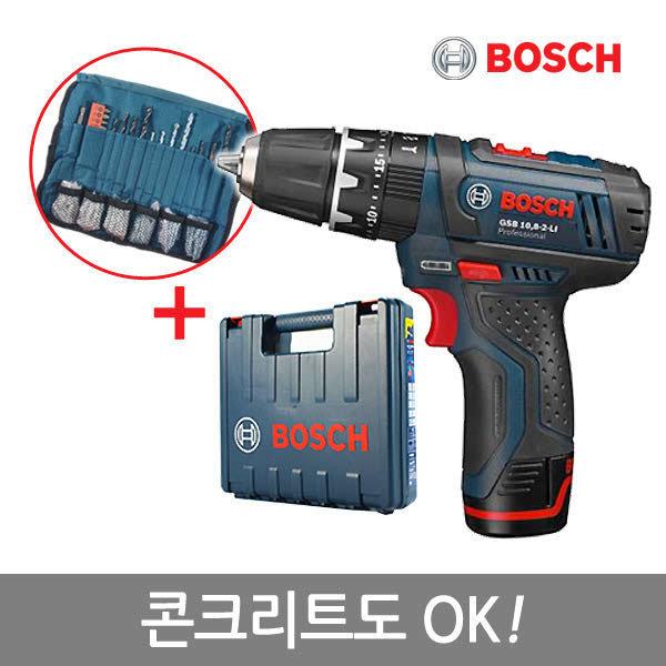 (현대Hmall) 보쉬 10.8V리튬이온 충전임팩드릴 GSB 10.8-2 LI(1B)/액세사리100PCS포함/콘크리트작업OK/GSB1