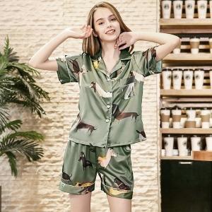 여성 세련 실크 반팔 탑+반바지 패션 잠옷 세트 그린