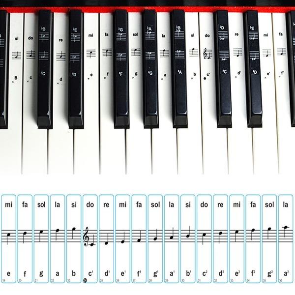 피아노 키보드 건반 음계 계이름 스티커