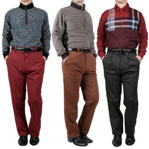 겨울 남성 남자 기모 골프 웨어 중년의류 바지 방한복