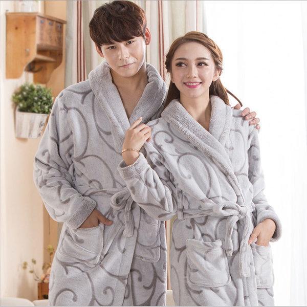 극세사 커플 목욕가운 샤워가운 겨울 가운 잠옷가운