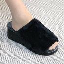 여성 털슬리퍼 통굽 웨지슬리퍼 겨울실내화여자털신발